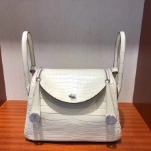 Stock Wholesale Hermes 8L Beton White Crocodile Matt Lindy26CM Bag Silver Hardware