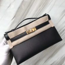 Stock Hermes Swift Calf Minikelly Pochette22CM in CK89 Noir Gold Hardware