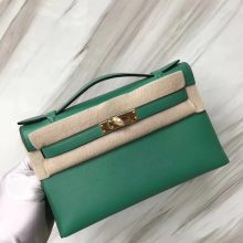 Stock Discount Hermes U4 Vert Verigo Swift Calf Minikelly22CM Clutch Bag Gold Hardware