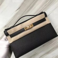 Stock Fashion Hermes Minikelly22CM Clutch Bag CK89 Noir Epsom Calf Gold Hardware