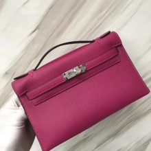 Stock Hermes L3 Rose Purple Epsom Calf Minikelly Pochette22CM Silver Hardware