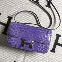 Stock Luxury Hermes Amethyst Purple Shiny Crocodile Constance26CM Bag Silver Hardware