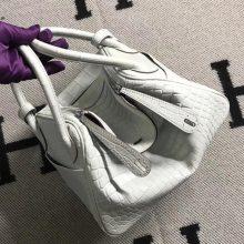 Stock Fashion Hermes Gris Pearl Crocodile Matt Lindy26CM Bag Silver Hardware