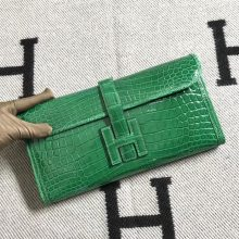 Stock Wholesale Hermes Shiny Crocodile Jige Wallet Clutch Bag in Vert Cacti