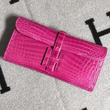 Stock New Arrival Hermes Rose Tyrien Shiny Crocodile Jige Wallet Clutch Bag