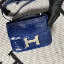 Stock Hermes Shiny Crocodile Constance Bag19CM in Royal Blue Silver Hardware