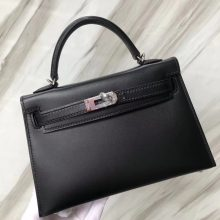 Stock Hermes CK89 Noir Boxcalf Leather Minikelly-2 Evening Clutch Bag Silver Hardware