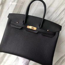 Stock Hermes CK89 Noir Togo Calf Birkin35CM Tote Bag Gold Hardware