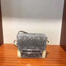 Stock Hermes 01 Nature Lizard & Y1 Vanille Crocodile Leather Roulis18CM Bag
