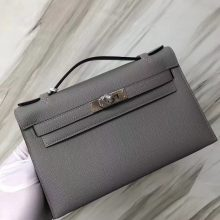 Stock Hermes 4Z Gris Mouette Epsom Calf Minikelly22CM Clutch Bag Silver Hardware