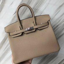 Stock Wholesale Hermes Birkin25CM Tote Bag S2 Gris Trench Togo Calf Silver Hardware