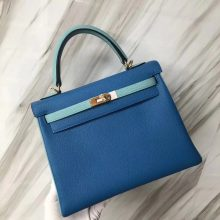 Customization Hermes B3 Blue Zanzibar/Blue Attol Togo Calf Kelly25CM Bag Gold Hardware