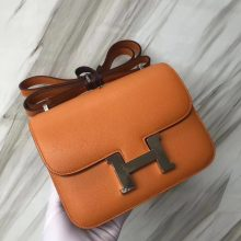 Stock Discount Hermes Constance18CM Bag in i9 Apricot Evecolor Leather Silver Hardware