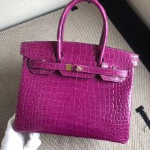 Stock Hermes J5 Rose Scheherazade Shiny Crocodile Birkin30CM Bag Gold Hardware