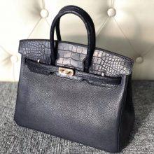 Stock Hermes Matt Crocodile&Chevre Leather Touch Birkin25CM Bag Rose Gold Hardware