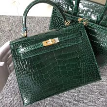 Stock Discount Hermes Shiny Crocodile Kelly25CM Bag in CK67 Vert Fonce Gold Hardware
