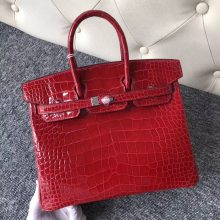 Stock Hermes CK95 Braise Alligator Shiny Crocodile Birkin25CM Bag Silver Hardware