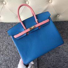 Stock Hermes Chevre Leather Birkin25CM Bag in 7Q Blue Mykonos/Rose Lipstick Gold Hardware
