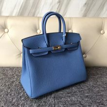 Stock Sale Hermes 2T Blue Paradise Togo Calf Birkin Bag25CM Gold Hardware