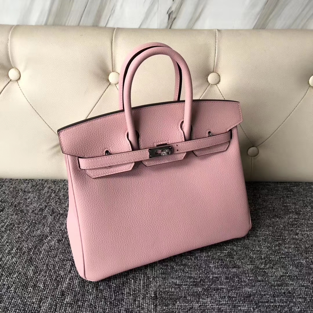 Stock Wholesale Hermes 3Q Rose Sakura Togo Calf Birkin Bag25CM Silver Hardware