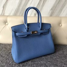 Stock Discount Hermes 2T Blue Paradise Togo Calf Birkin30cm Bag Gold Hardware