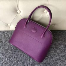 Stock Hermes Epsom Calf Bolide Bag27CM in P9 Anemone Purple Silver Hardware