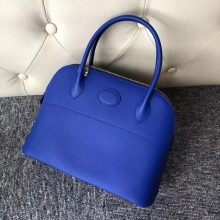 Stock Hermes I7 Blue Zellige Epsom Calf Bolide Bag27CM Gold Hardware