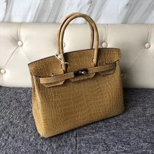 Stock Wholesale Hermes 1C Beige Shiny Crocodile Birkin Bag30CM Silver Hardware