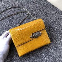 Luxury Discount Hermes Shiny Crocodile Verrou17CM ChainBag 9D Ambre Yellow