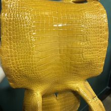New Arrival Hermes Shiny CrocodileLeather in 9D Ambre Yellow Hermes Bags Customization