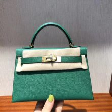 Stock Hermes U4 Vert Verigo Epsom Calf Minikelly-2 Evening Clutch Bag Gold Hardware