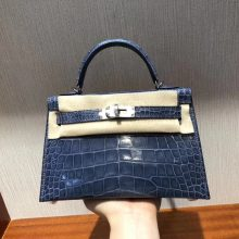 Stock Hermes N7 Blue Tempete Shiny Crocodile Minikelly-2 Evening Clutch Bag Silver Hardware