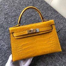 Wholesale Hermes Shiny Crocodile Minikelly-2 Evening Bag in 9D Ambre Yellow Gold Hardware