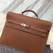 New Arrival Hermes CK37 Gold Togo Calf Depeche Briefcase Mens' Tote Bag38CM