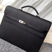 Wholesale Hermes CK89 Noir Epsom Calf Depeche Briefcase38CM Mens' Tote Bag Gold Hardware