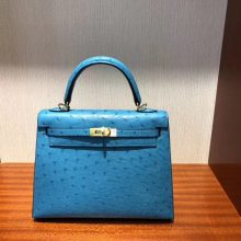 Discount Hermes 7W Blue Izmir KK Ostrich Kelly Bag25CM Gold Hardware