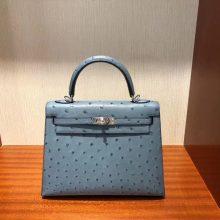 Sale Hermes Kelly Bag25CM in 8U Blue Glacier KK Ostrich Leather Silver Hardware