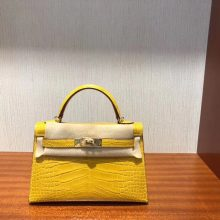 Noble Hermes Shiny Crocodile Minikelly-2 Clutch Bag in 9D Ambre Yellow Gold Hardware