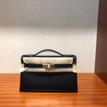 Fashion Hermes CK89 Noir Box Calf Minikelly Pochette22CM Gold Hardware