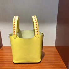 New Hermes 9O Jaune de Naples Epsom Picotin18CM Bag with Knitted Handle Silver Hardware
