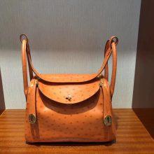 Hand Stitching Hermes 93 Orange KK Ostrich Lindy26CM Shoulder Bag Gold Hardware