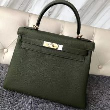 Wholesale Hermes V6 Vert Canopee Togo Calf Kelly Bag28CM Gold Hardware
