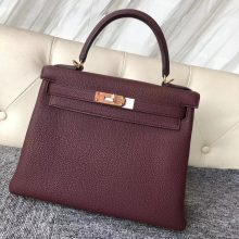 Wholesale Hermes CK55 Rouge H Togo Calf Retourne Kelly Bag28CM Gold Hardware