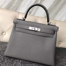 Sale Hermes Togo Calf Kelly28CM Tote Bag in 4Z Gris Mouette Silver Hardware