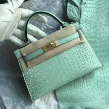New Arrival Hermes 6U Mint Green Matt Crocodile Minikelly-2 Clutch Bag Gold Hardware