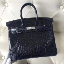 Stock Hermes 7K Blue Saphir Alligator Shiny Crocodile Birkin25CM Bag Silver Hardware