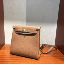 Stock Hermes Clemence Leather Kelly Ado 22CM Backpack Shoulder Bag in CK37 Gold