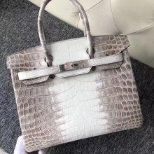 Wholesale Hermes Crocodile Birkin Bag30CM Himalaya Color Silver Hardware