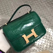 Luxury Hermes Shiny Crocodile Constance Bag18cm in 6Q Vert Emerald Rose Gold Hardware