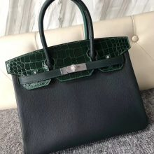 Discount Hermes Multi-color Shiny Crocodile/Chevre Leather Birkin30CM Bag Silver Hardware